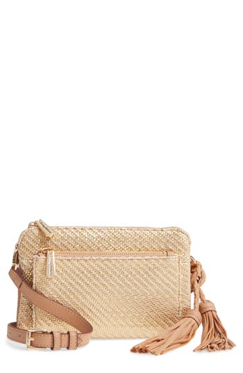 Tommy Bahama Grenadine Woven Faux Leather Crossbody Clutch - Metallic