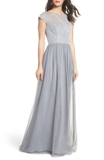Women's Hayley Paige Occasions Embroidered Bodice Net Gown, Size 2 - Grey