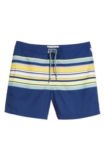 Original Penguin Stripe Fixed Volley Board Shorts, Blue