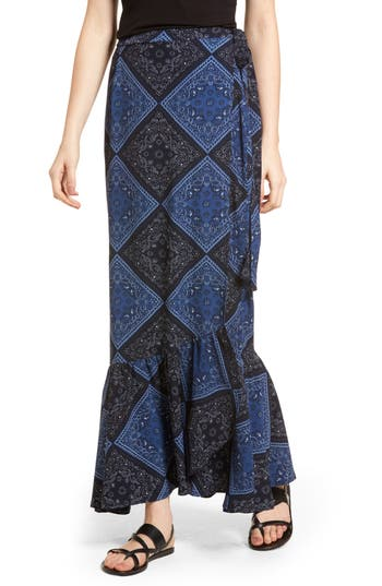 Lira Clothing Elsa Bandana Print Skirt, Blue