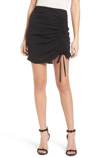 J.o.a. Cinch Hem Miniskirt, Black