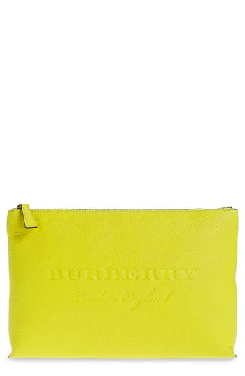 Burberry Duncan Leather Zip Pouch - Yellow