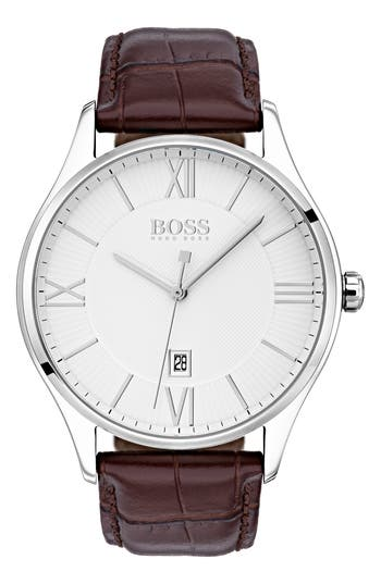 BOSS Governor Leather Strap Watch, 44mm