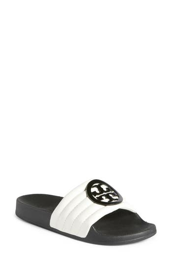 Tory Burch Lina Quilted Logo Slide Sandal, White
