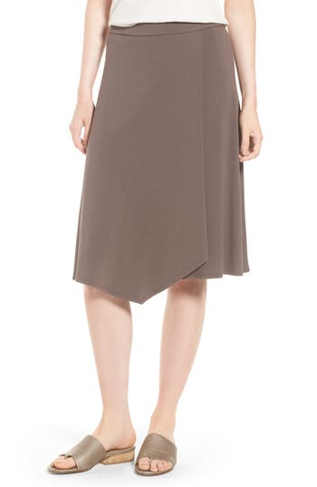 Eileen Fisher Faux Wrap Jersey Skirt, Grey