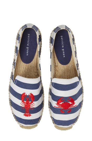 Patricia Green Embroidered Lobster & Crab Espadrille Flat, Blue