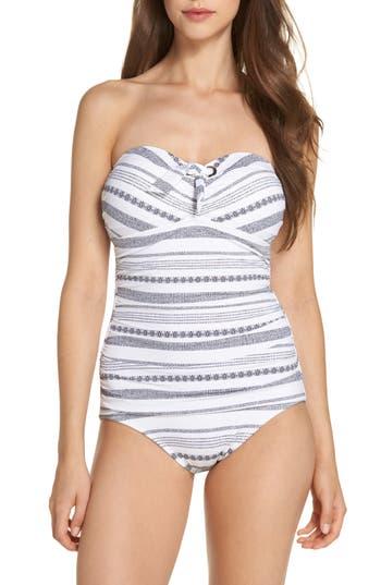 Tommy Bahama Sand Bar Stripe Shirred Bandeau One-Piece Swimsuit, White