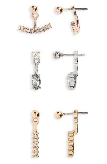 Women's Topshop 3-Pack Front/back Crystal Earrings