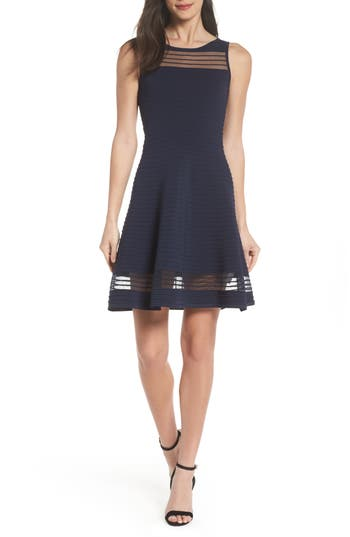 women's french connection tobey fit & flare sweater dress, size 4 - blue