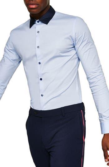 Topman Muscle Fit Contrast Collar Sport Shirt, Blue