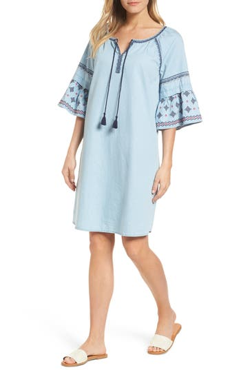 Caslon Embroidered Chambray Shift, Blue