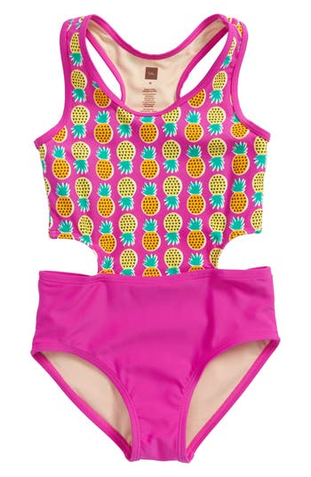Girl's Tea Collection Cutout One-Piece Swimsuit, Size 4 - Pink