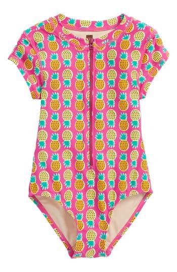 Girl's Tea Collection Short Sleeve Rashguard, Size 4 - Pink