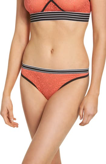Women's Halogen Lori Lace Thong, Size Small - Coral