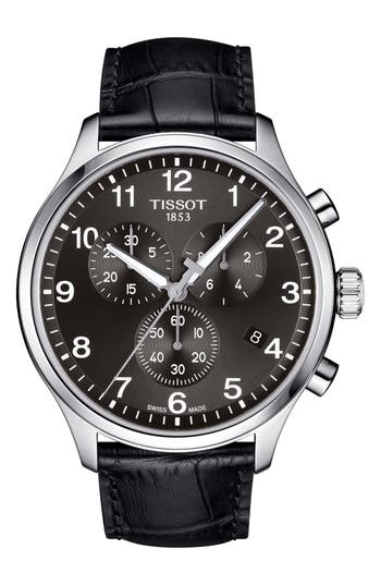 Tissot Chrono XL Collection Chronograph Leather Strap Watch, 45mm