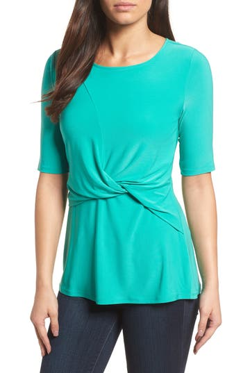 Women's Chaus Knot Front Top, Size Small - Blue/green