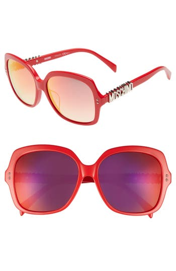 Women's Moschino 57Mm Oversized Polarized Sunglasses - Red