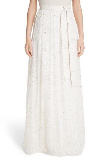 St. John Collection Flocked Glitter Crinkle Chiffon Skirt