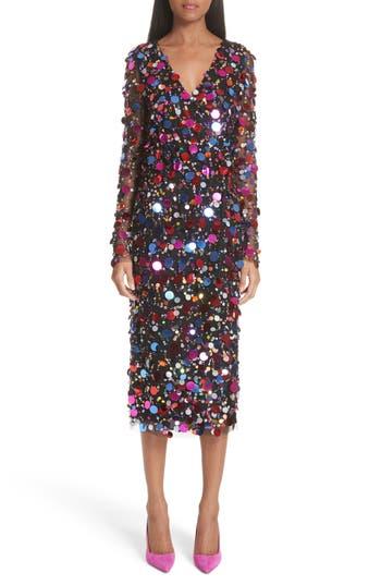 Carolina Herrera Long Sleeve Paillete Dress