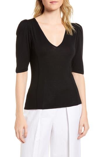 Lewit Puff Sleeve Merino Wool & Silk Sweater, Black