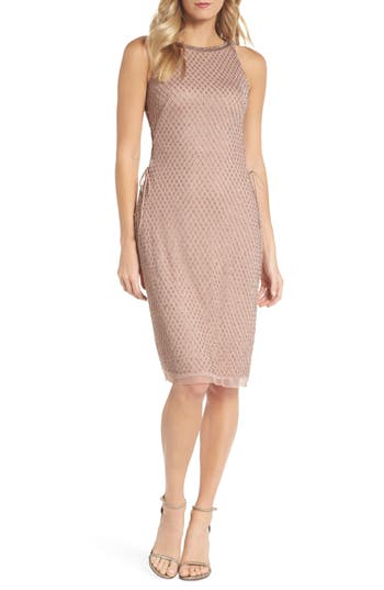 Adrianna Papell Beaded Lace-Up Dress, Metallic