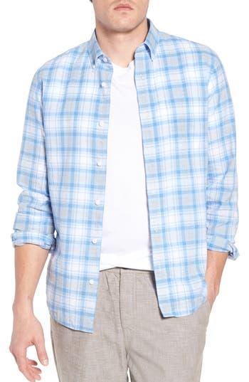 Big & Tall 1901 Trim Fit Plaid Linen Blend Sport Shirt - Blue