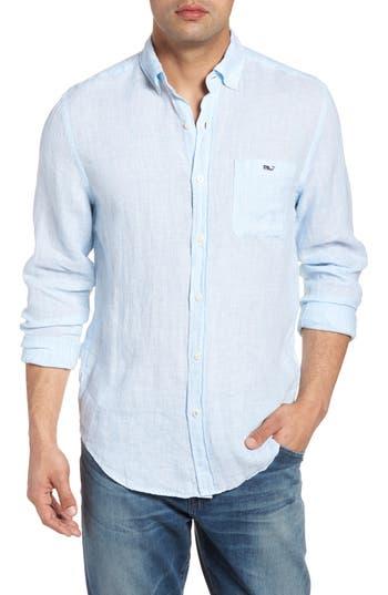 Men's Vineyard Vines Cooper'S Town - Tucker Classic Fit Stripe Linen Sport Shirt, Size Large - Blue