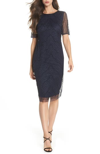 Adrianna Papell Deco Beaded Tulle Sheath Dress, Blue