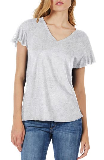 Michael Stars Ruffle Sleeve V-Neck Tee, Size One Size - Grey