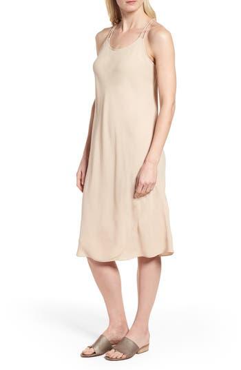 Eileen Fisher Double Strap Silk Slipdress, Beige