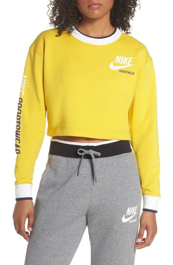 Nike Reversible Crop Sweatshirt, Yellow