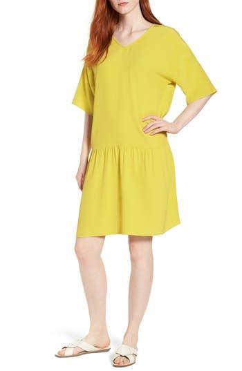 Eileen Fisher Drop Waist Tencel Lyocell Blend Dress, Yellow