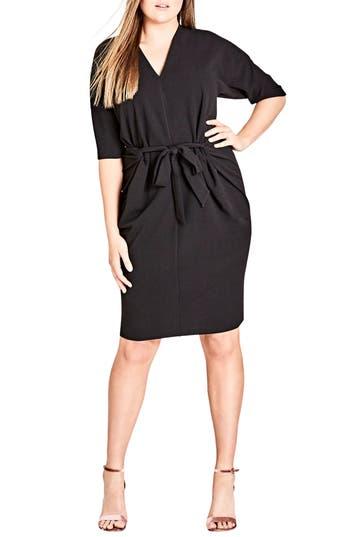 plus size women's city chic tie front dress, size x-small - black