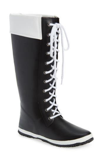 Dav Lace-Up Rain Boot, Black