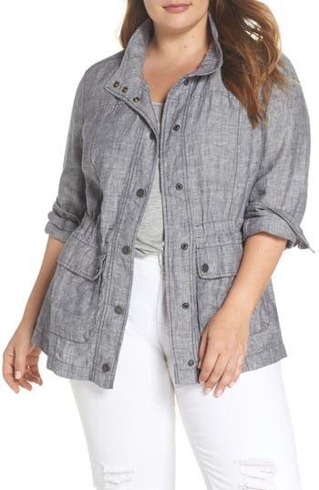 Caslon® Cinch Waist Linen Utility Jacket