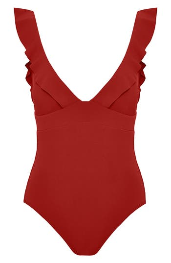 Robin Piccone Ruffle One-Piece Swimsuit, Orange