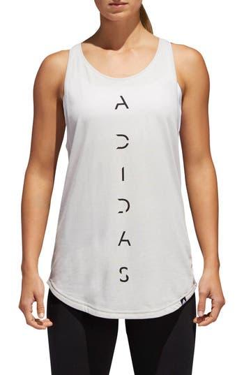 Adidas Vertical Logo Essential Tank, White