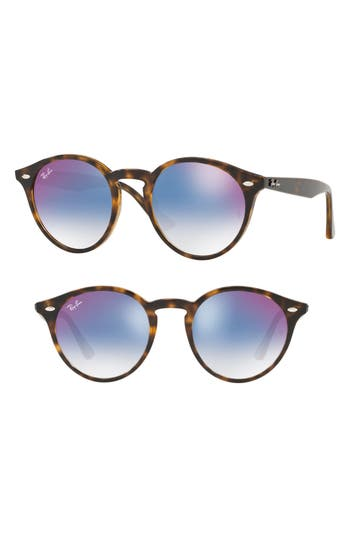 Ray-Ban Highstreet 51Mm Round Sunglasses - Red/ Blue Gradient Mirror