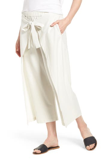 Eileen Fisher Washable Stretch Crepe Tie-Front Crop Wide Leg Pants, Ivory