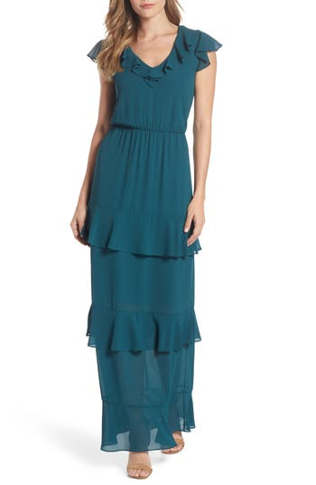 Charles Henry Tiered Ruffle Maxi Dress, Green