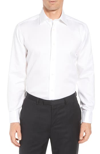 David Donahue Horizontal Twill Regular Fit Tuxedo Shirt