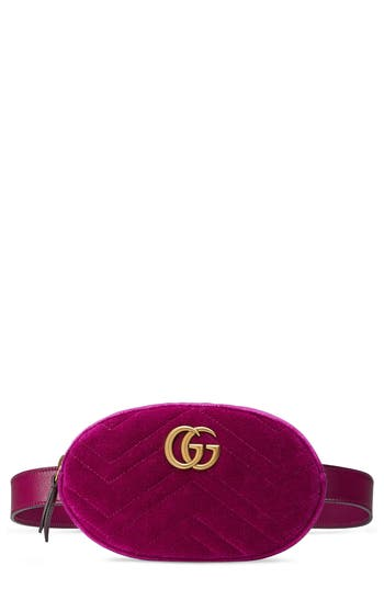 GUCCI SMALL GG MARMONT 2.0 VELVET BELT BAG - PINK