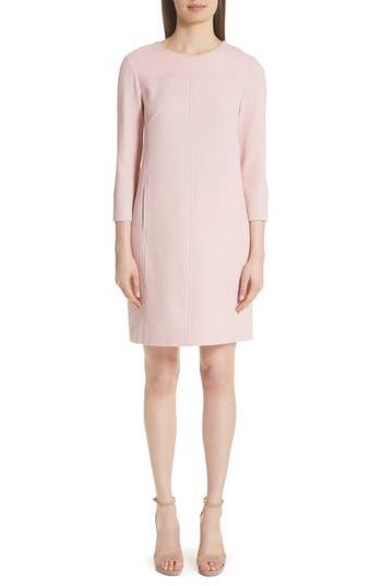 LELA ROSE WOOL BLEND CREPE SHIFT DRESS