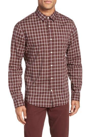 Men's Vince Classic Fit Plaid Sport Shirt, Size Small - Burgundy