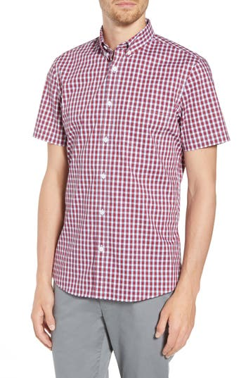 Men's Nordstrom Men's Shop Tech-Smart Slim Fit Check Sport Shirt, Size Small - Red