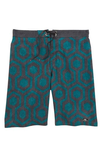 Boys ONeill Hyperfreak Wrenched Board Shorts Size 22  Grey