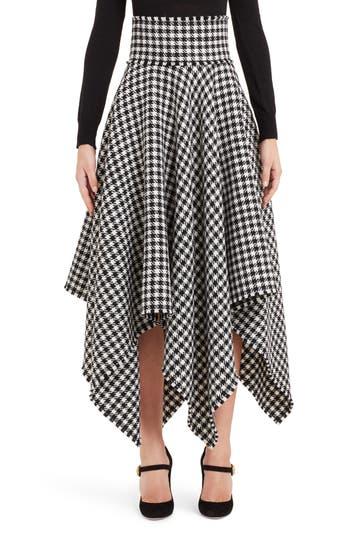 Dolce&Gabbana Houndstooth Handkerchief Hem Stretch Wool Skirt