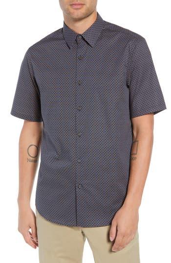 Men's Theory Menlo Halldale Slim Fit Stretch Short Sleeve Sport Shirt, Size X-Small - Blue