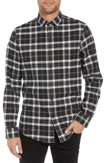 Calibrate Slim Fit Mini Collar Plaid Flannel Sport Shirt