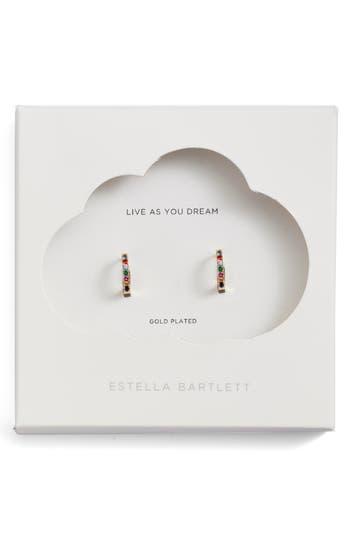 Estella Bartlett Multicolor Crystal Pavé Huggie Hoop Earrings